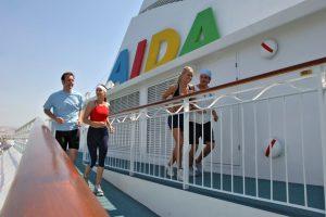 Jogging an Bord der AUDabella. Foto: AIDA Cruises